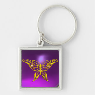 HYPER BUTTERFLY ,Purple Amethyst Silver-Colored Square Key Ring