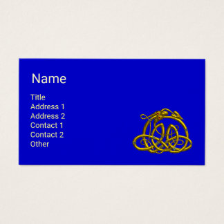 HYPER DRAGON WITH GOLD CELTIC KNOTS Blue Fantasy Business Card