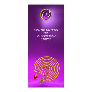 HYPER LABYRINTH,Amethyst bright  violet purple red 10 Cm X 24 Cm Invitation Card