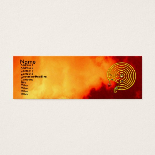 HYPER LABYRINTH ,red yellow clouds Mini Business Card