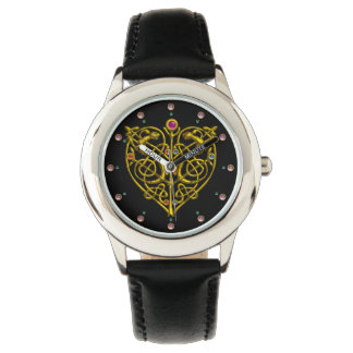 HYPER VALENTINE,GOLD CELTIC KNOT HEART Black Wristwatches