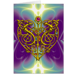 HYPER VALENTINE /Gold Celtic Knot Heart With Gems Greeting Card