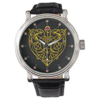 HYPER VALENTINE,GOLD CELTIC KNOTS HEART Black Wristwatches