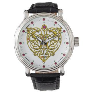 HYPER VALENTINE,GOLD CELTIC KNOTS HEART White Wristwatch