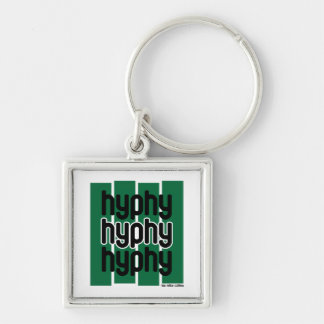 Hyphy Green Silver-Colored Square Key Ring