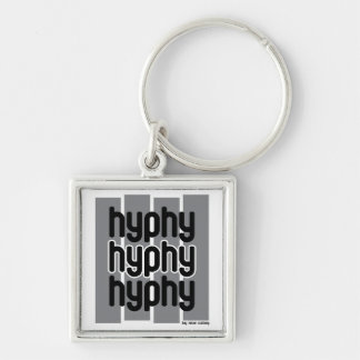 Hyphy Grey Silver-Colored Square Key Ring