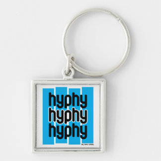 Hyphy Light Blue Silver-Colored Square Key Ring