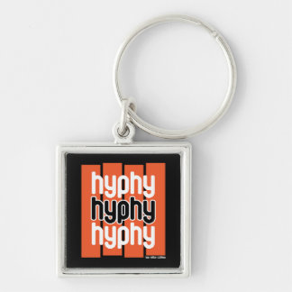 Hyphy Orange Silver-Colored Square Key Ring