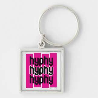 Hyphy Pink Silver-Colored Square Key Ring