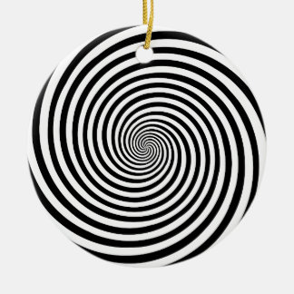 Hypnosis Spiral Ornament, add text on back Round Ceramic Decoration