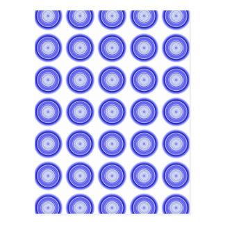 Hypnotic Circle Blue White Postcard