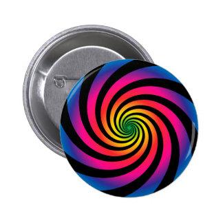 HYPNOTIC DISC Mesmerizing Neon Color Vortex Spiral 6 Cm Round Badge