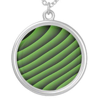 Hypnotic Green Wavy Lines Necklace