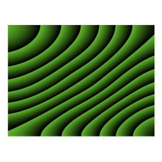 Hypnotic Green Wavy Lines Postcard