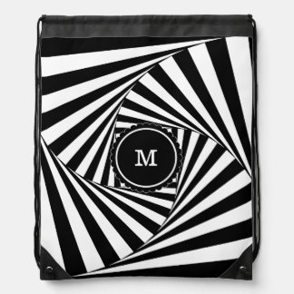 Hypnotic Hipster Georgeous Pattern Black and White Drawstring Bag