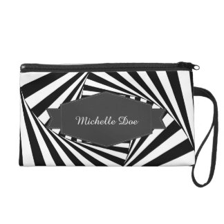 Hypnotic Hipster Georgeous Pattern Black and White Wristlet