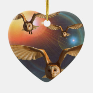 Hypnotic Owl at Sunset Christmas Ornament