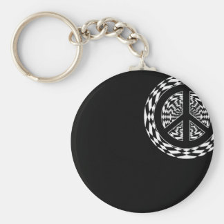 HYPNOTIC PEACE SIGN BASIC ROUND BUTTON KEY RING