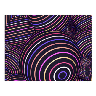 Hypnotic Rainbow Colored Spheres Abstract Postcard