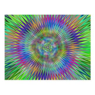 Hypnotic Star Burst Fractal Postcard