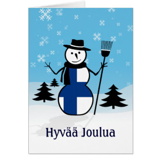 Hyvää Joulua Merry Christmas Finland Snowman Card