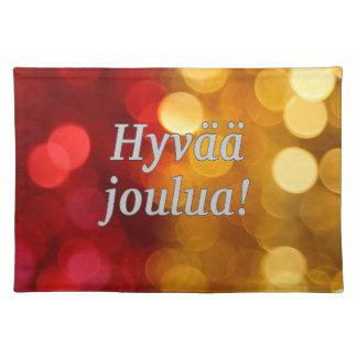 Hyvää joulua! Merry Christmas in Finnish wf Cloth Place Mat