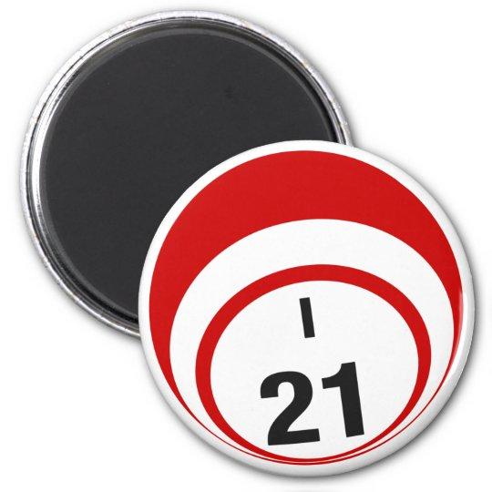 I21 bingo ball fridge magnet