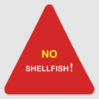 i3 - Food Alert ~ NO SHELLFISH. Triangle Sticker