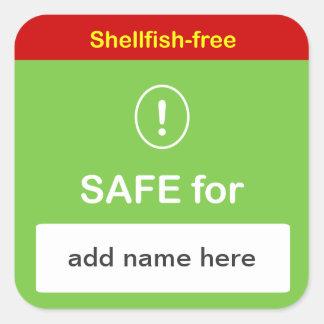 i4 - SAFE FOOD LABEL w/ Custom Name ~NO SHELLFISH. Square Sticker