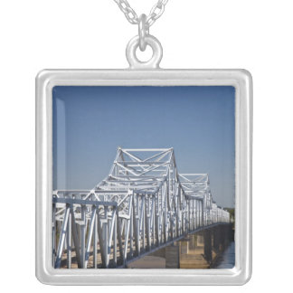 I-20 Highway bridge across Mississippi River, Silver Plated Necklace