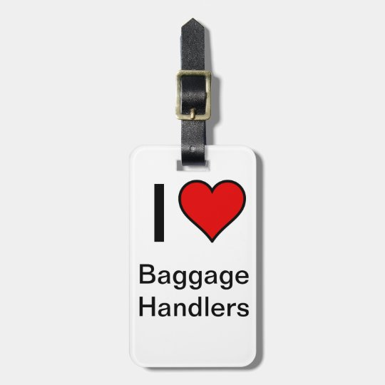 """""""I <3 Baggage Handlers"""" Luggage Tag- Red Heart"""