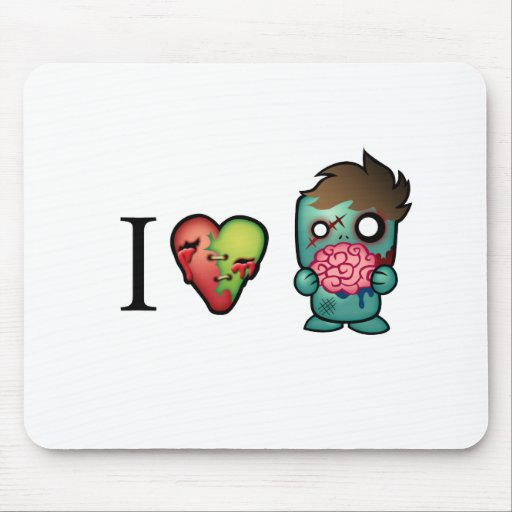 I <3 Brains- Zombies Are Everywhere! Mouse Pads