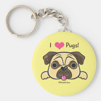I <3 Pugs! Button Keychain