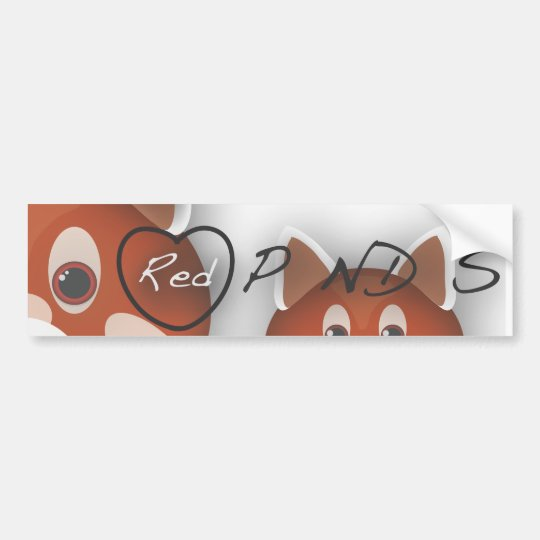 I <3 Red Pandas Bumper Sticker
