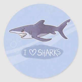 I <3 Sharks: Blue Shark Classic Round Sticker
