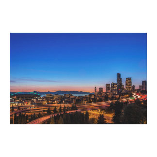 I-5 freeway and downtown Seattle at twilight Canvas Print
