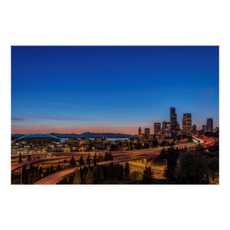 I-5 freeway and downtown Seattle at twilight Poster