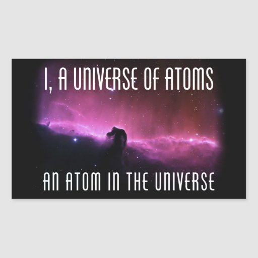 I, a Universe of Atoms.  An Atom in the Universe Rectangular Stickers