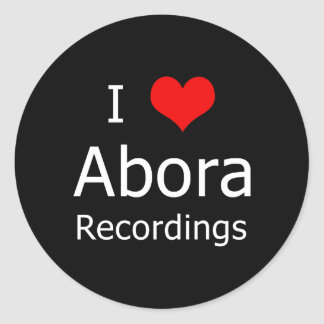 I ♥ Abora Recordings Round Sticker (6 Large Black)