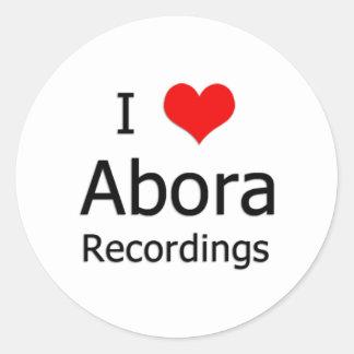 I ♥ Abora Recordings Round Sticker (Small White)