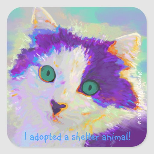 I adopted a shelter animal! square sticker