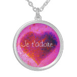 I adore you in French: Je t'adore heart Round Pendant Necklace