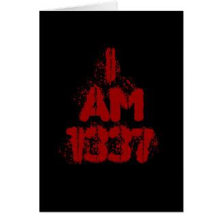 I Am 1337. Deep Red Text. Leet Gamer. Card
