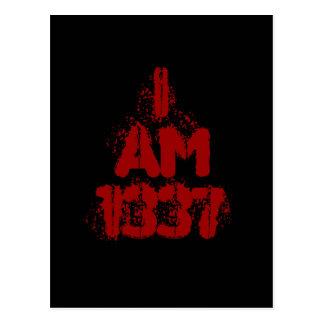 I Am 1337. Deep Red Text. Leet Gamer. Postcard