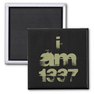 I Am 1337. Leet Gamer. Khaki Green Text. Custom Magnet