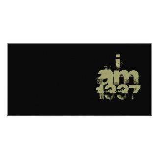 I Am 1337. Leet Gamer. Khaki Green Text. Custom Custom Photo Card