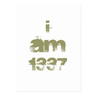 I Am 1337. Leet Gamer. Khaki Green Text. Custom Postcard