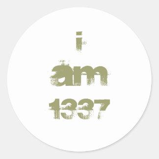 I Am 1337. Leet Gamer. Khaki Green Text. Custom Round Sticker