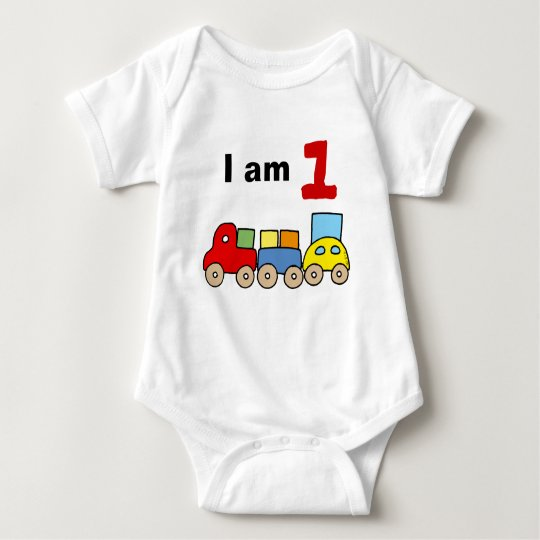 I am 1 (wooden toy train) baby bodysuit