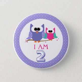 I Am 2 Cute Owls Birthday Button